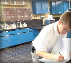 iodine chemist working in lab
